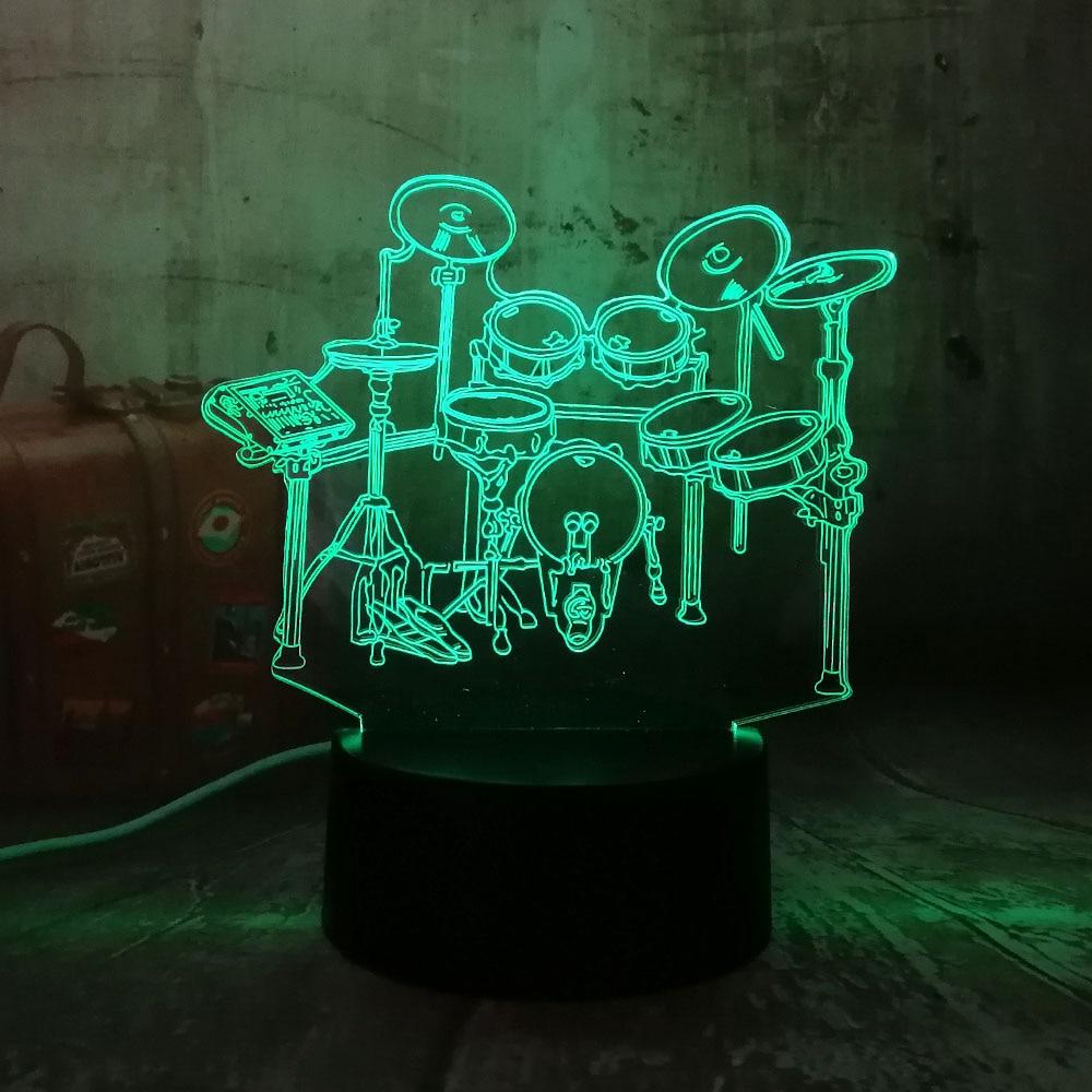 New Musical instrument Jazz Drum Set 7 Color Change Desk Lamp 3D LED Night Light Bedroon Decor Novelty Lustre Holiday Gift LavaNew Musical instrument Jazz Drum Set 7 Color Change Desk Lamp 3D LED Night Light Bedroon Decor Novelty Lustre Holiday Gift Lava