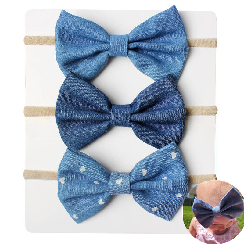 3pcs/set Trendy European Denim Butterfly Kids Girl Elastic Nylon Headband Hot-sale Hair Accessories For Kids Headwear Headwrap