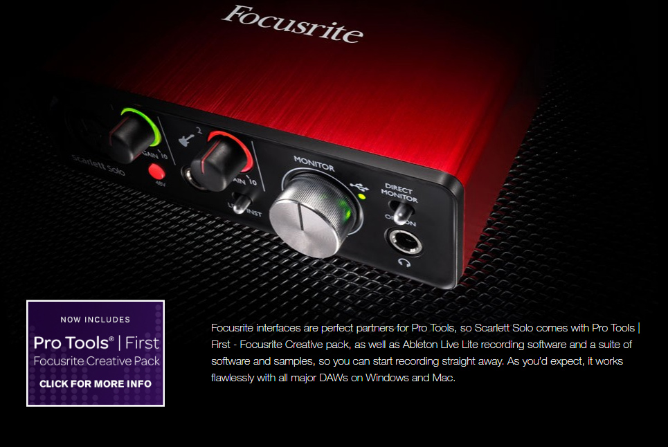 Focusrite Scarlett Solo (2Nd Gen) 2 Input 2 Output Usb Audio Interface  Sound Card For Recording