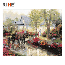RIHE Carriage Diy Painting By Numbers Abstract Manor Oil Painting On Canvas Cuadros Decoracion Acrylic Wall Picture Home Decor rihe fall park diy painting by numbers chair woman oil painting on canvas cuadros decoracion acrylic wall picture home decor