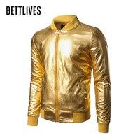 Mens Jacket Nachtclub Metallic Gold Shiny Jassen 2017 Merk Mannen Veste Homme Slanke Rits Lichtgewicht Varsity Bomberjack BE300