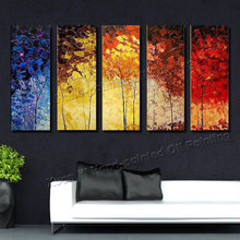 5 Piece Canvas Wall Art Hand Painted Palette Knife Oil Painting Colourful Trees Decor Home Paintings For Living Room XY050