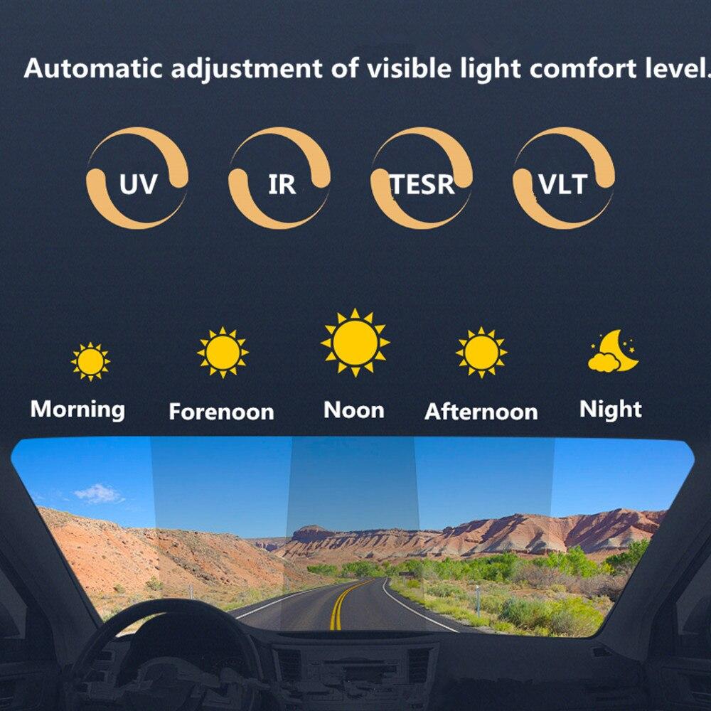 Film de fenêtre photochromique de teinte solaire en céramique Nano de voiture automatique Vision claire la nuit Film intelligent d'animal familier avec la taille 152x50 cm/60 ''x 20''