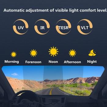 Sunice Automatic Car Vehicle Nano Ceramic Solar Tint Photochromic Window Film Clear Vision at Night PET Smart film 152cmx500cm