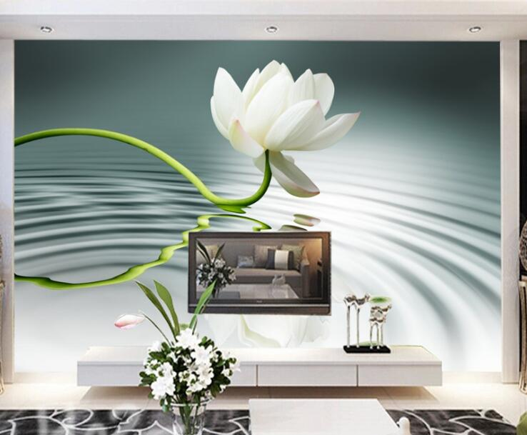 White Lotus flower Mural 3D Stickers Large Photo Wall Paper Canvas floral Wallpapers Waterproof Living Room Wall Decor Custom антисептик д дерева valtti color ec 9 л матовый