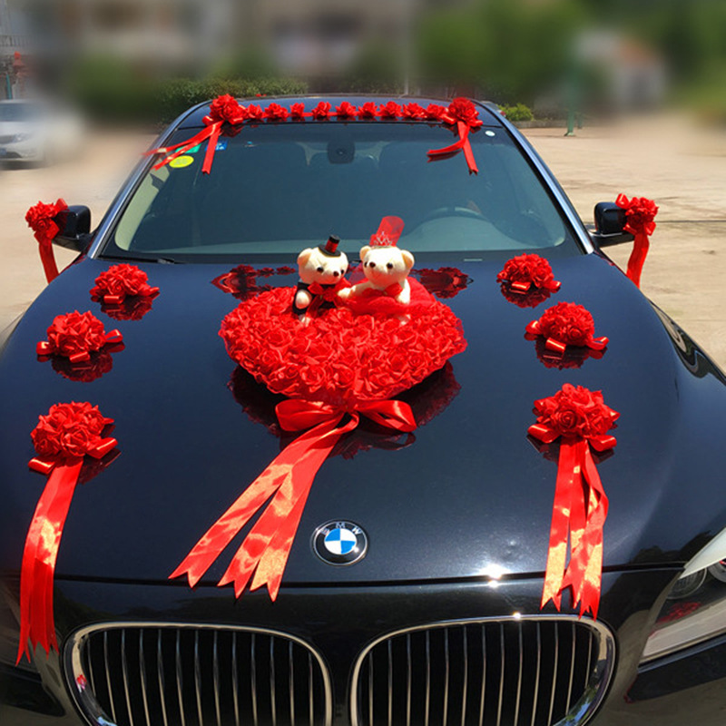 Свадебный автомобиль украшения Искусственные цветы Свадебные Декоративные цветы Пена розы шелк украшение оптовая продажа - 4