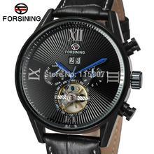 FSG16556M3B4 Hot! новый стиль моды Автоматическая самостоятельно ветер бизнес мужчины часы с черным кожаный ремешок оригинальный подарочной коробке