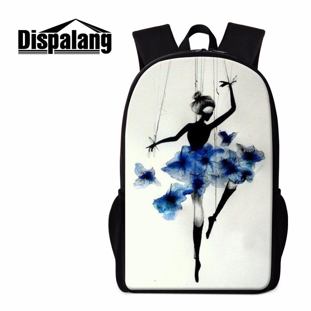 Dispalang New Design Ballerina Dancing Ballet Print Backpacks For Primary Students Lightweight School Back Pack Women Schoolbag