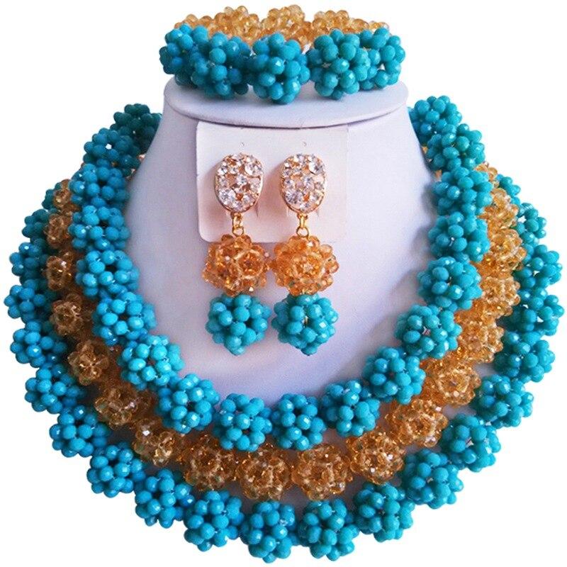 цена Hot Sale Opaque Lake Blue Champagne Gold African Wedding Beads Crystal Jewelry Set 3C-SJTQ-06 онлайн в 2017 году