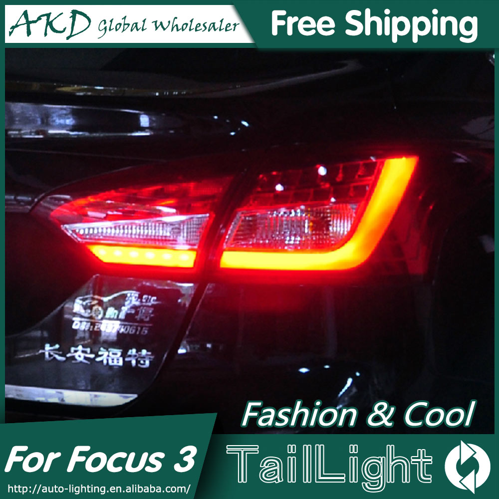 AKD Car Styling for Ford Focus 3 Tail Lights 2012-2014 New Focus Sedan LED Tail Light Rear Lamp DRL+Brake+Park+Signal