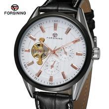 FSG293M3T1 новое прибытие Автоматическая мужские наручные часы с черным кожаный ремешок подарочной коробке бесплатная доставка вся продажная цена