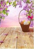 سعيد عيد الفصح أزهار الخلفيات الأرضيات الخشبية الملونة البيض سلة زهرة الارجوان أطفال الأطفال استوديو