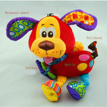 2016 Hot Sale Hanging Toy Dog Plush Vibration Rattle Teether Newborn Baby Gift Multifunction for Kids Education and Play