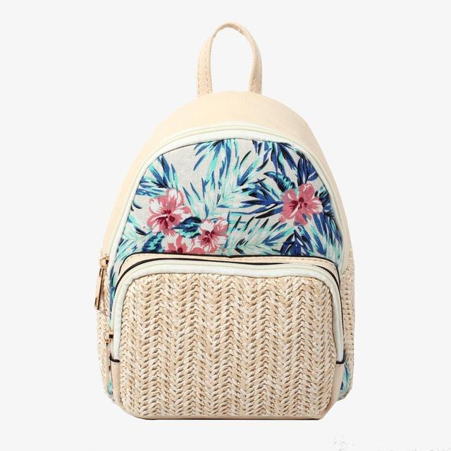 Lady Backpack woven by White straw style with flower pattern cotton Inner striped lining women backpack  B-002