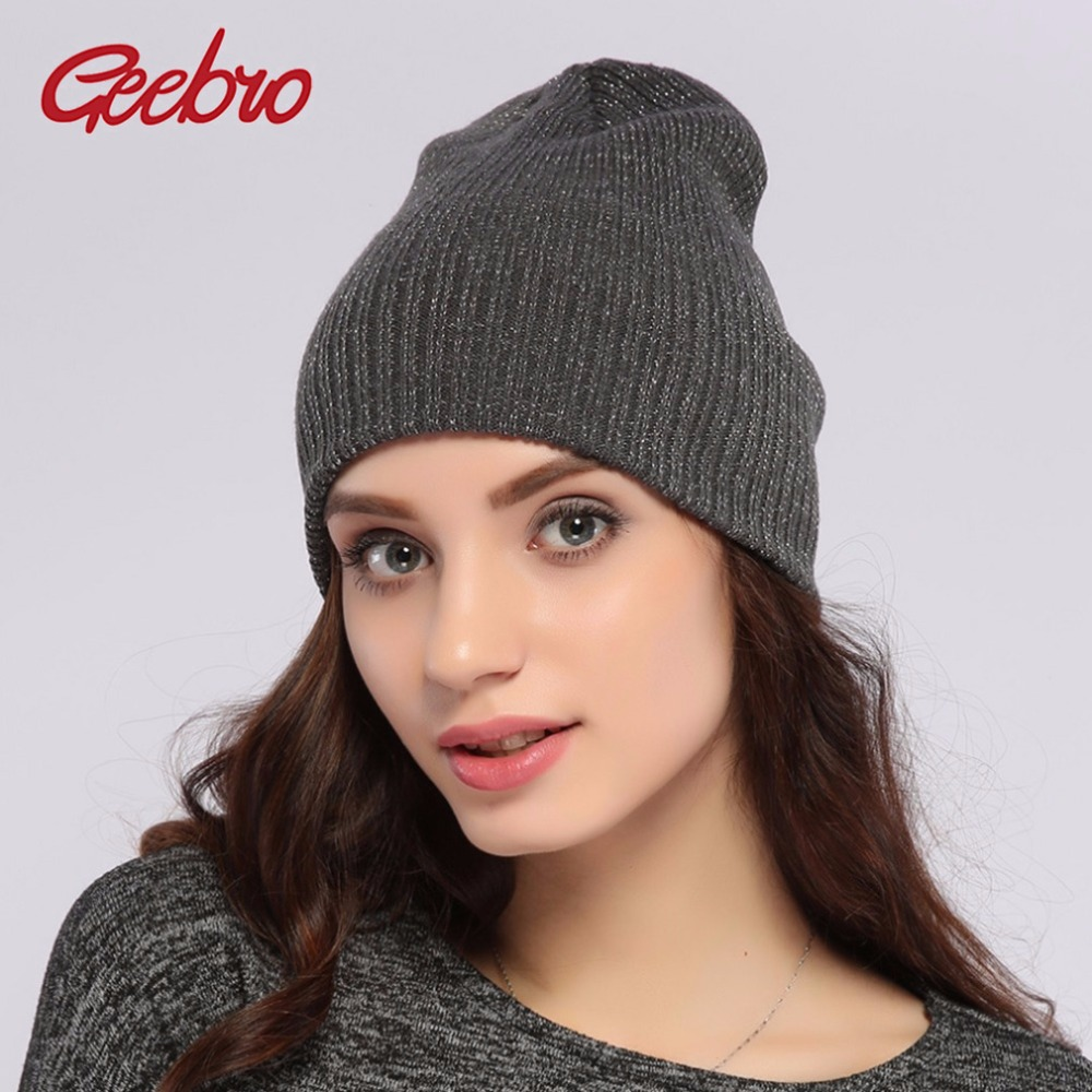 Geebro Brand 2017 Women's Beanies Hats For Spring And Autumn Women Knitted Skullies Beanies Hat For Women Balaclava Cap JS291A