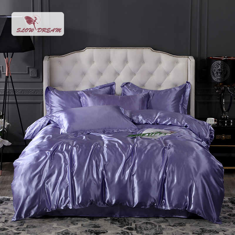 SlowDream Bedding Set 100 Silk Luxury Euro Fitted Sheet Bedspread Rubber Sheet On Elastic Band Double Corners Duvet Cover Set in Bedding Sets from Home Garden
