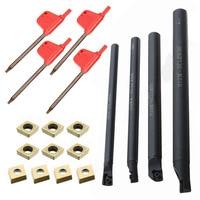 10pcs CCMT060204 Gold Insert 4pcs 7 8 10 12mm SCLCR06 Tool Holder Boring Bar 4pcs T8