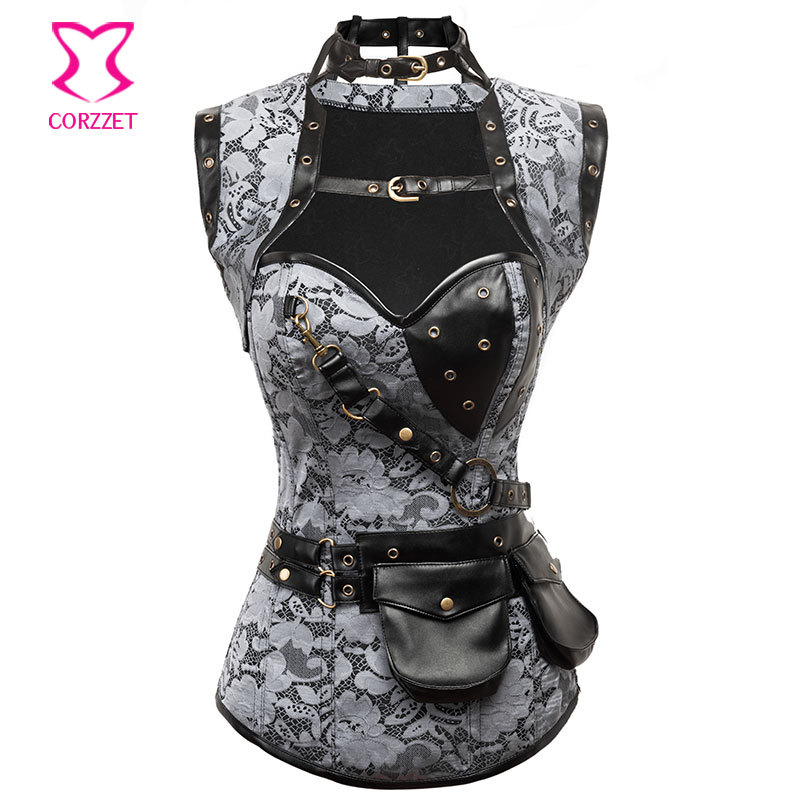 Silver Brocade Steampunk Corset 6XL Steel Boned Corpetes E Espartilhos Corsets With Jacket Belt Burlesque Outfit Gothic Clothing
