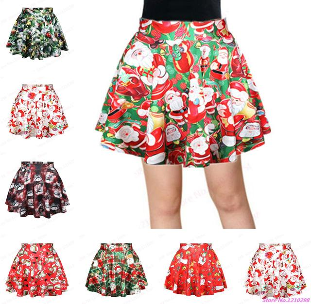 Summer Women Santa Claus Print Mini Skirts Vintage