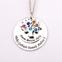 Family  Tree Pendant Necklace with Birthstones 2016 New Arrival Long Birthstone Necklaces Custom Made Any Name YP2548