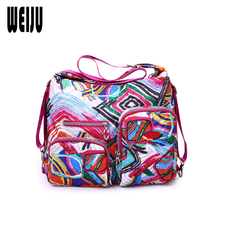 WEIJU Women Shoulder Bag Casual Nylon Women Messenger Bags Fashion Print Woman Handbag Multifunctional Ladies Tote YR0288 women handbag shoulder bag messenger bag casual colorful canvas crossbody bags for girl student waterproof nylon laptop tote