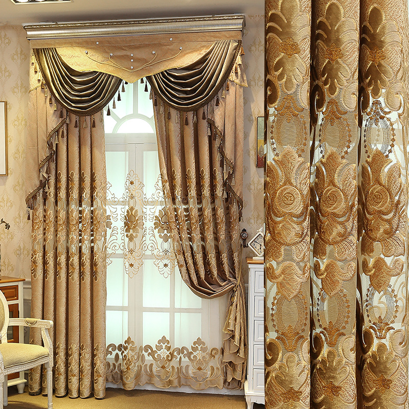 European Luxury Brown Curtains For Living Room  Chenille Curtains For Bedroom Shaded Embroidery Window Curtain Tulle