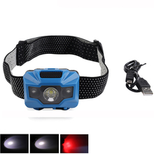 PANYUE 10PCS Portable Mini LED Headlamp USB Rechargeable Built-in Batttery Flashlight Waterproof Fishing Headlight