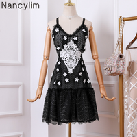 Summer Black Lace Dress Women Summer Stereo Embroidery Country Tide Retro Backless Dress Women's Strap Dresses Vestido Nancylim