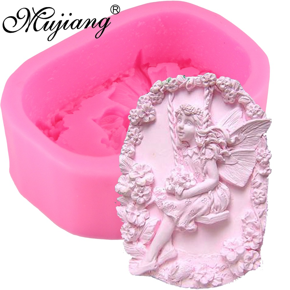 Mujiang Flower Angel Diy Soap Silicone Mold 3d Craft Fairy Polymer Clay Candle Moulds Chocolate Fondant Cake Decorating Tools Arts,crafts & Sewing Pottery & Ceramics