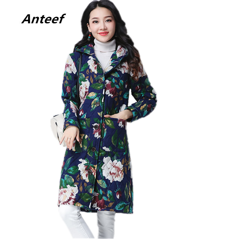 new fashion plus size Cotton linen vintage print hooded casual jacket long loose autumn Winter Coat 2017 women outerwear