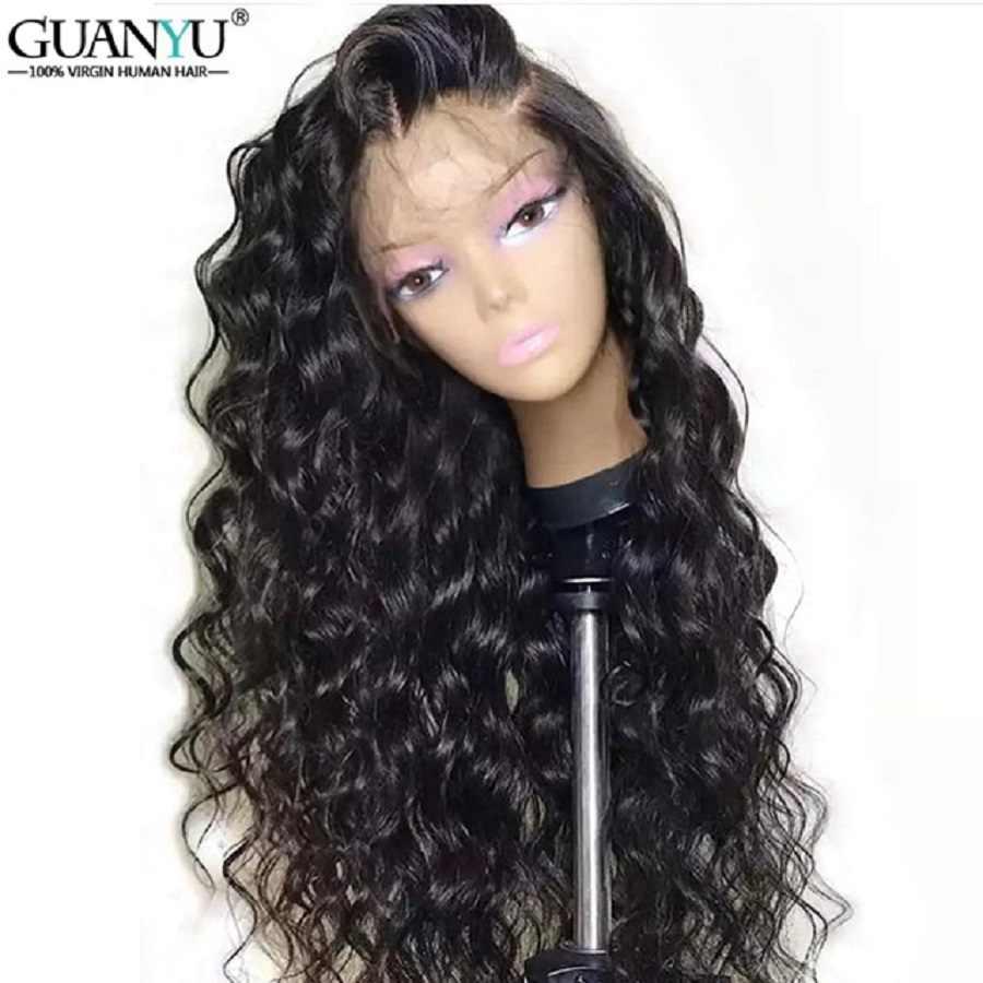 Глубокий парик из волнистых волос бразильские волосы Remy кружева передние парики для черных женщин 100% человеческих волос Кружева передние парики с волосами младенца предварительно сорвал