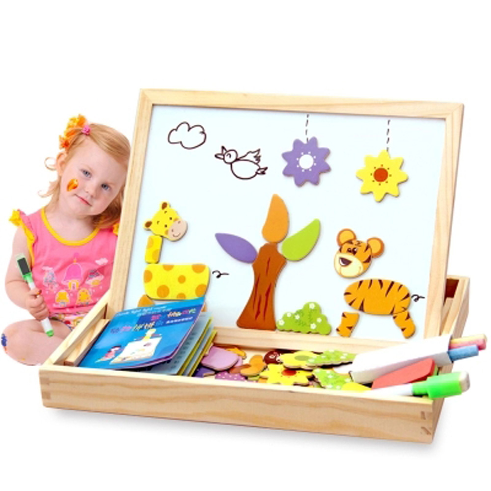 100+Pcs Wooden Magnetic Puzzle Toys Children 3D Puzzle Figure/Animals/Vehicle/Circus Drawing Board 5 Style Kid Learning Wood Toy