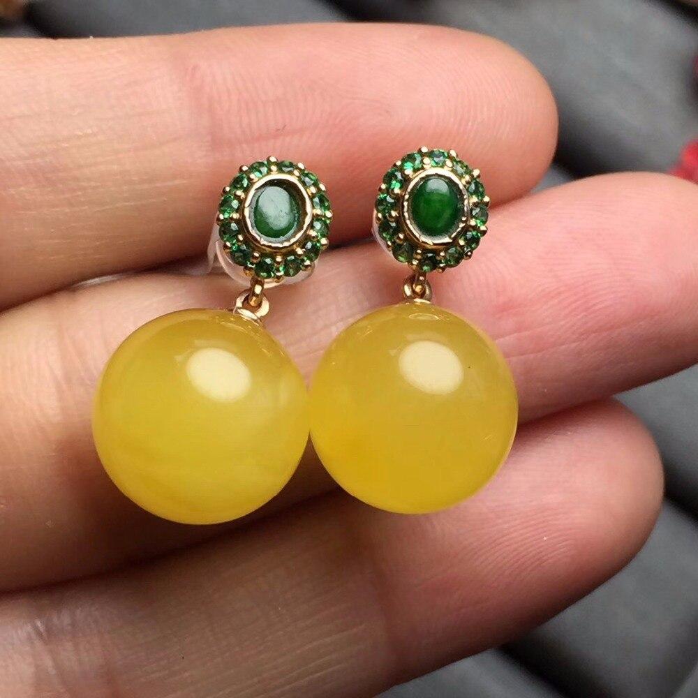 Fine Jewelry Real 18k G18K Solid Rose Gold Diamonds Natural Burmes Green Jade Nature Amber Gemstone Aretes Women Stud Earrings