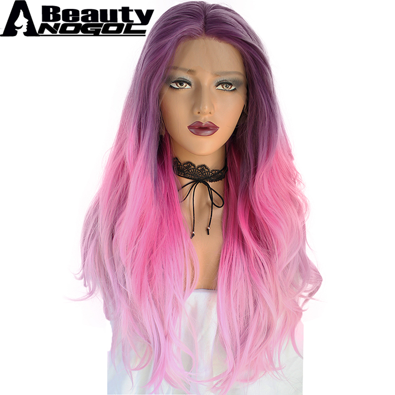 ANOGOL BEAUTY High Temperature Fiber Peruca Cabelo Long Natural Wave Full Hair Wigs Purp ...