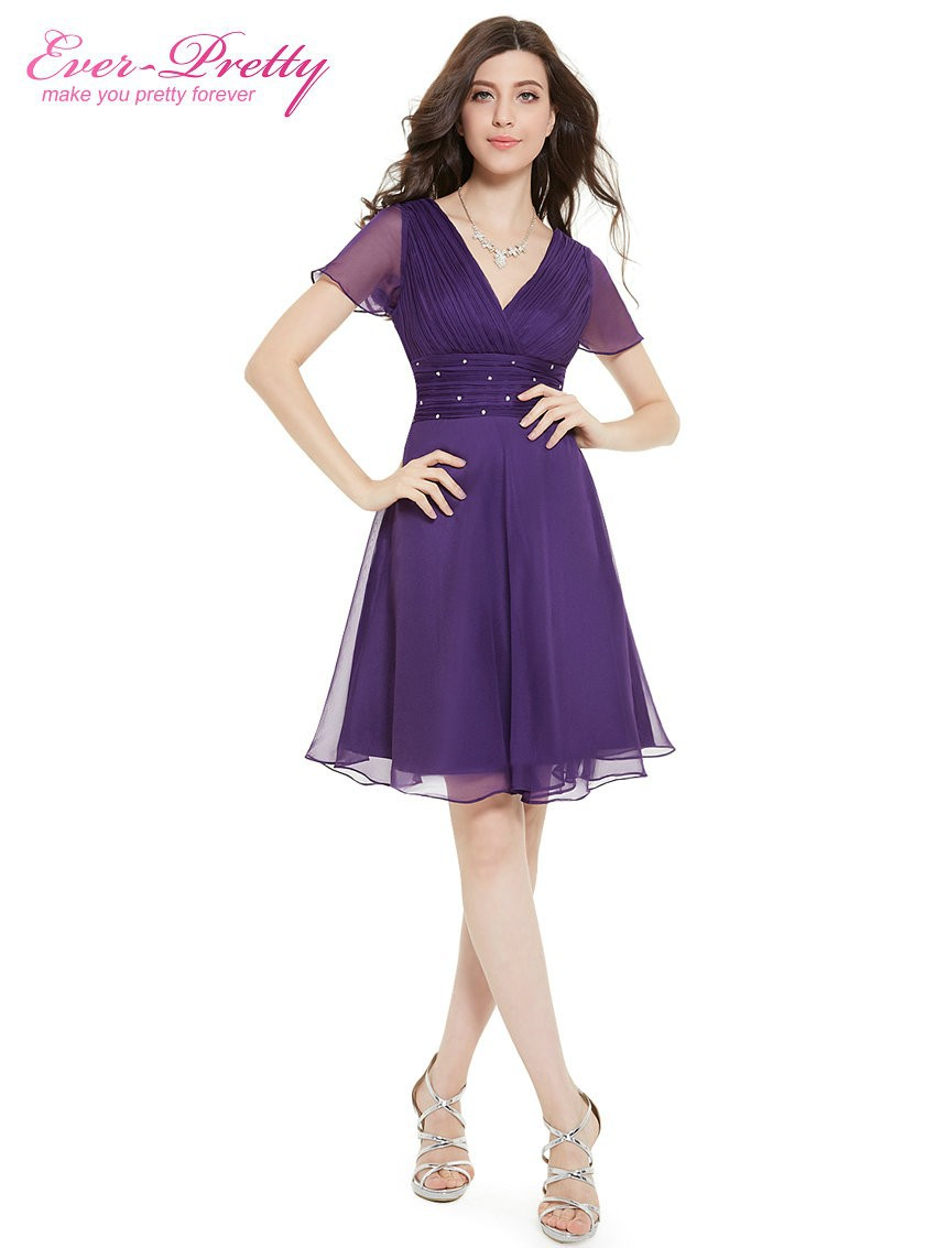 Short Sleeve V Neck Ruched Bust Chiffon Party Dress 12