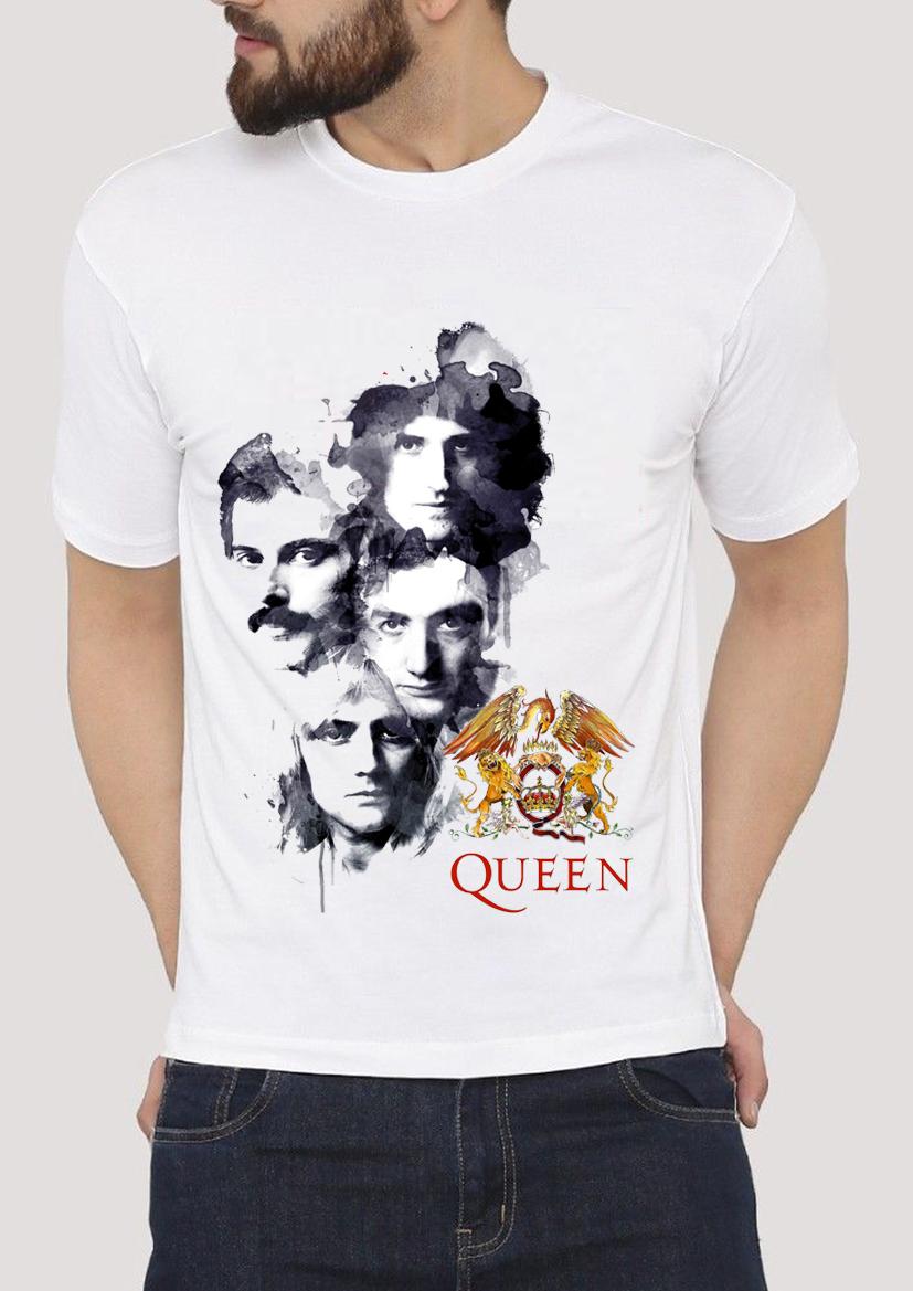 New Queen Freddie Mercury Bohemian Rhapsody Four Faces Hard Rock White T-Shirt Hot 2018 Summer Men'S T Shirt Fashion