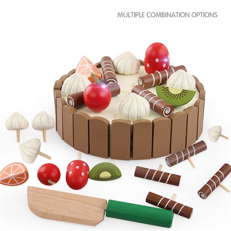 Wooden Children Kitchen Toys Pretend Toys Cutting Cake Play Food Kids Toys Wooden Fruit Cooking Toys For Baby Birthday Interests