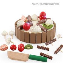 Crianças de madeira brinquedos de cozinha fingir brinquedos de corte de bolo de jogo de alimentos brinquedos de frutas de madeira para o aniversário do bebê interesses