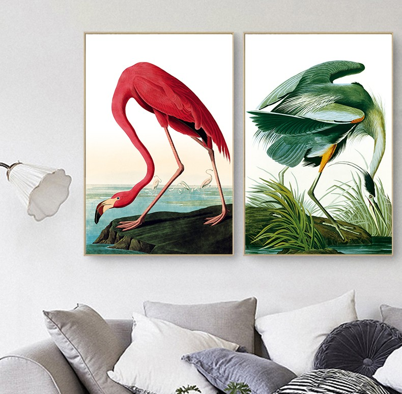 Animal Canvas Painting Print Poster Wall Art Flamingos Floral Pictures For Living Room HD Picture Unframed In Calligraphy From