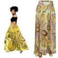 Talle alto Plisado Elegante de Las Mujeres Falda Plisada Faldas Largas Para Mujer Plus Tamaño de Las Señoras de La Vendimia Estilo Africano de Impresión Maxi Falda Amarilla