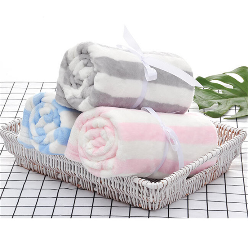 Winter Outdoor Baby Blanket Newborn Flannel Swaddling Warm Soft Pink Baby Bedding 75*100CM Baby Blankets Velvet Kids Blanket