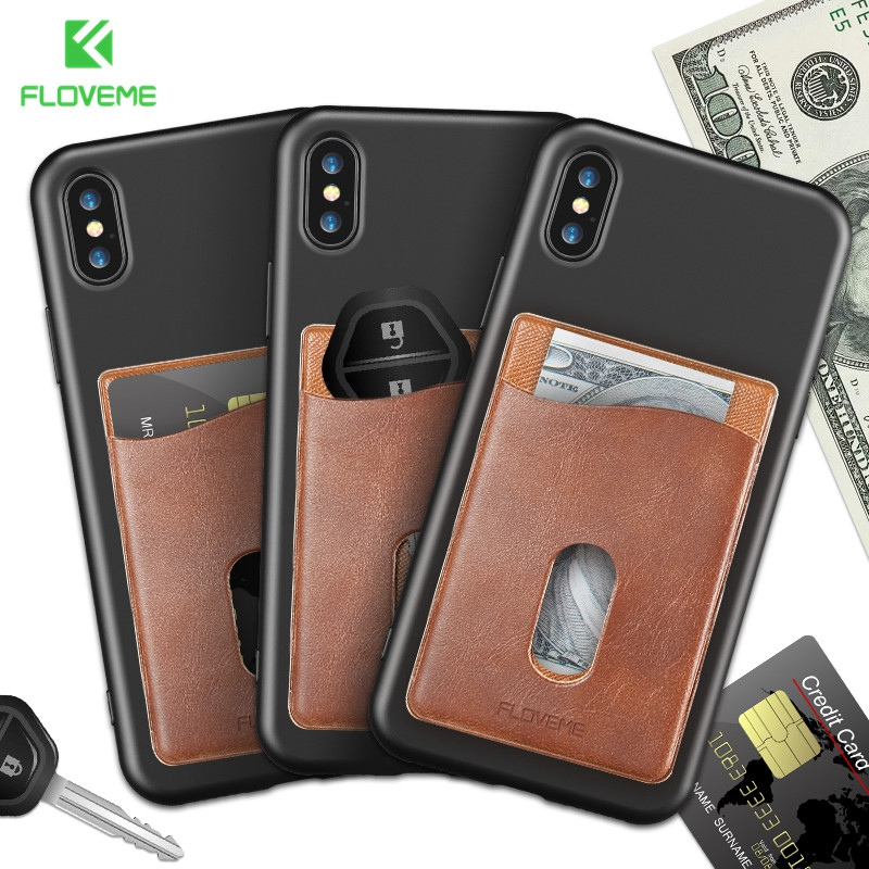 FLOVEME Leather 3M Adhesives Card Sticker Pocket For iPhone X 8 Universal Credit Card Wallet Case For Samsung S9 S8 Pouch Conque