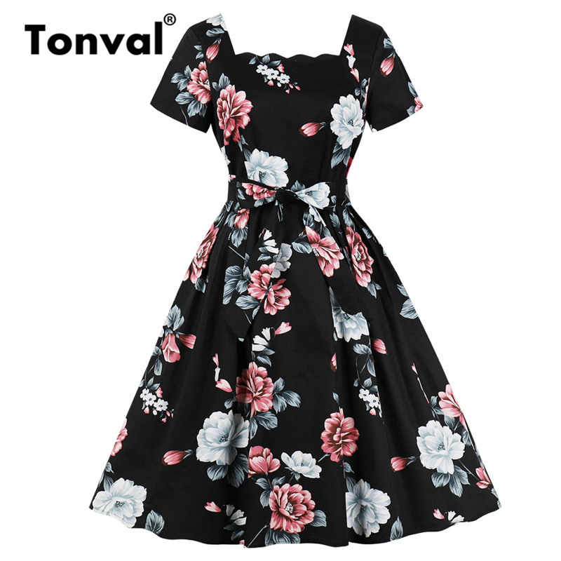 Tonval Scalloped Square Neck Floral Print Black Dress Women 50s Retro Clothing Glamorous Rockabilly Pleated Dresses