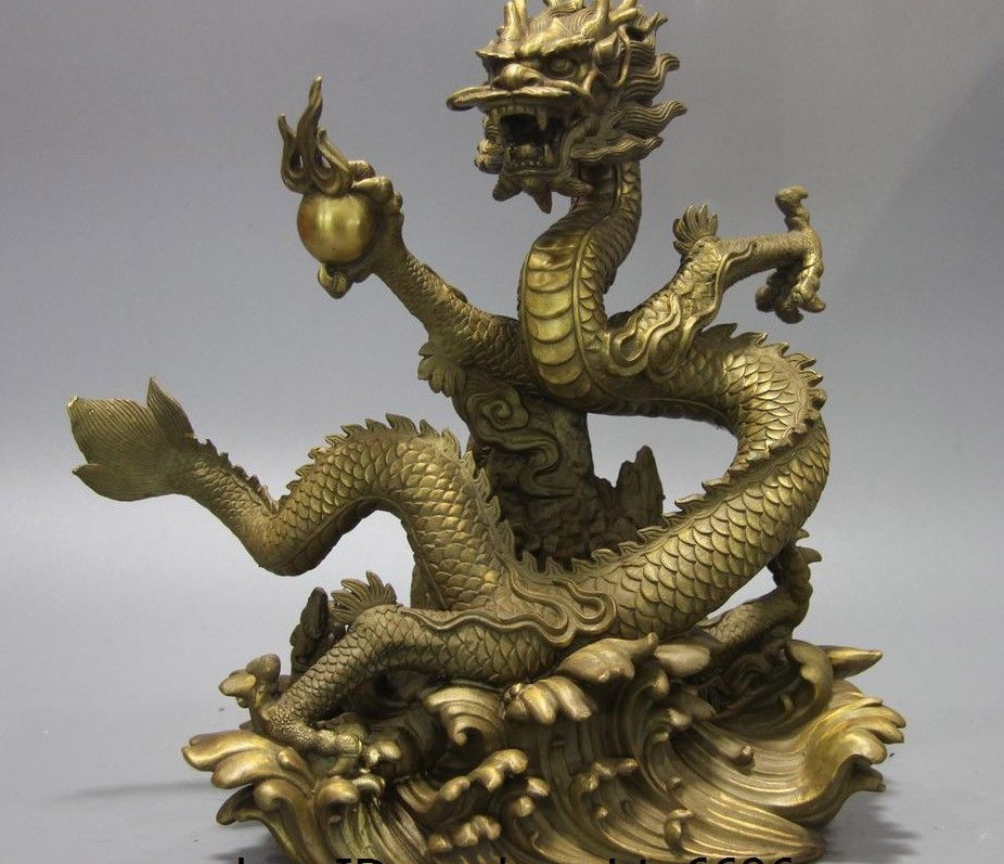 China Brass Copper Fengshui Auspicious Carved Fly Water Dragon Hold Bead Statue|Statues & Sculptures| |  - title=