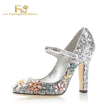 Women Shoes Ladies Pumps 2020 Spring Autumn Silver Sequined Round Toe Chunky Heels Rhinestone Mary Jane Plus Size 11 12 13