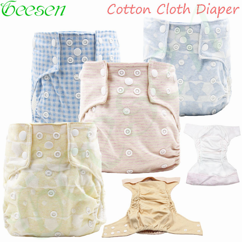 100% Cotton Waterproof Cloth Diaper With Cotton Inner One Size Baby Reusable Diaper All In Tow Organic Cotton Nappy