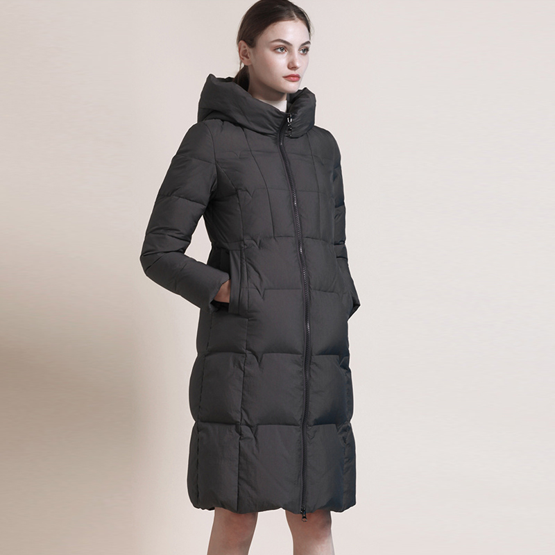 YNZZU Elegant Brief Long Women's   Down   Jacket 2018 Winter Plus Size Zipper Duck   Down     Coat   OL Workwear Jacket Women Parkas O715