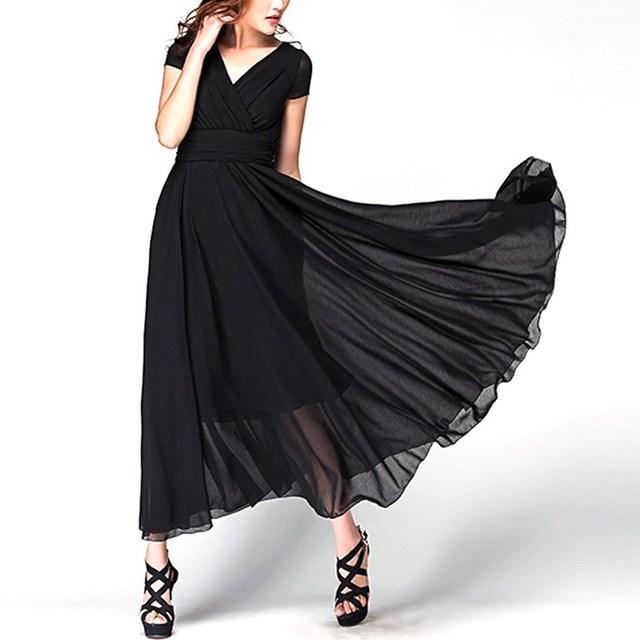 VISNXGI Women Long Maxi Dresses Bohemia V-neck Short Sleeve Chiffon Summer Female Club Dress Vestidos Plus Size S-5XL Clothes