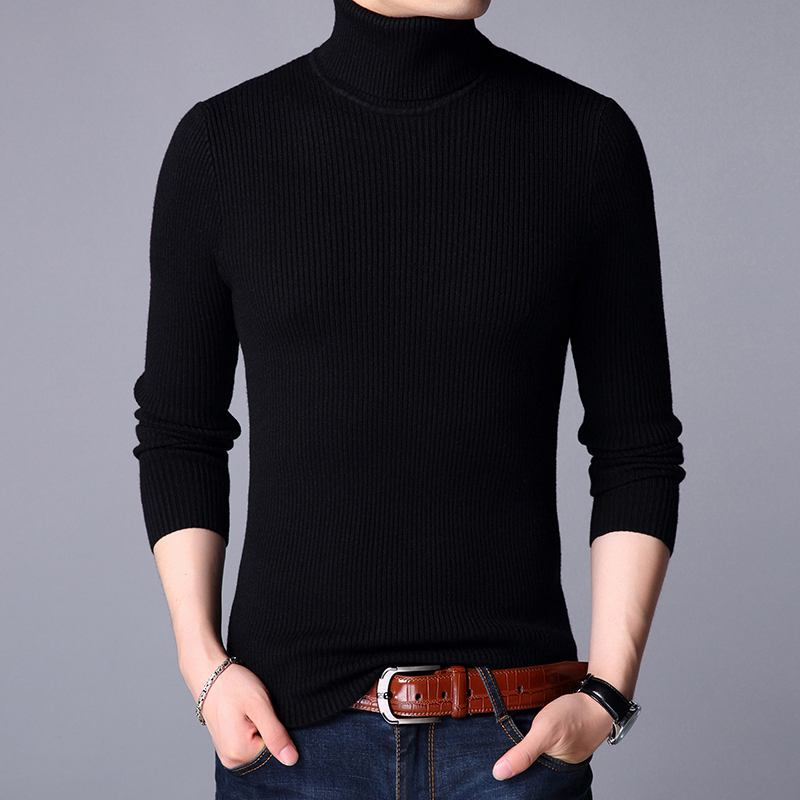 LEFT ROM 2018 winter fashion mens slim fit knitting sweater /leisure Pure color comfortable High collar Long sleeve pullovers