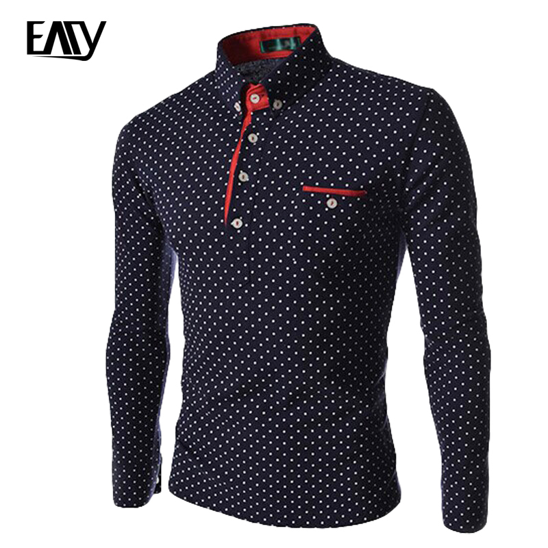 2016 new spring men dot polo shirt british style slim fit long sleeve casual polo shirt